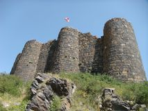 The fortress of Amberd in Armenia seen by the lower part. stock photo