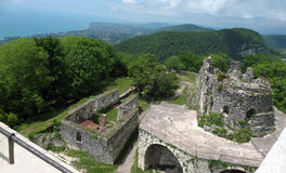 Fortress of of the ancient capital Anakopia on the Iverian mountain. Abkhazia. Aerial view of the ruins of the Fortress of of the ancient capital Anakopia Royalty Free Stock Photo