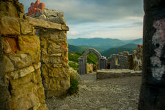 A fortress on a background of mountains, where he download the film Storm Gates. Gelendzhik district.Russia. Stock Photography