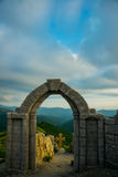 A fortress on a background of mountains, where he download the film Storm Gates. Gelendzhik district.Russia. Stock Photos