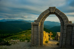 A fortress on a background of mountains, where he download the film Storm Gates. Gelendzhik district.Russia. Royalty Free Stock Photography