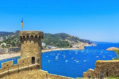 The Fortress and bay of Tossa de Mar, Catalunia,Costa Brava,Spain. The Fortress and bay of Tossa de Mar, Catalunia,Costa Brava,Spain stock photos