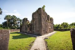 Fortress. Brick walls of Fort Zeelandia, Guyana. Fort Zealand is located on the island of the Essequibo river. royalty free stock image