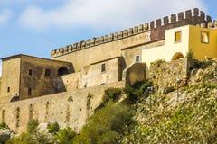 Partial view of the Castle of Palmela in Palmela, Setúbal, Portugal. Fortress built on the foothills of the Serra da Arrábida, Setúbal, Portugal. The Castle stock photo