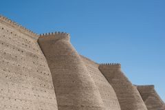 Fortress in Bukhara. Historical walls of Ark fortress in Bukhara, Central Asia stock images