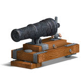 Fortress cannon. 3D render with clipping path and shadow over white Stock Photo