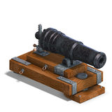 Fortress cannon. 3D render with clipping path and shadow over white Stock Image