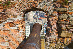 Fortress with cannon with a view Savona. Fortress with cannon with a view Savona, Liguria, Italy Stock Images
