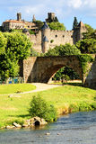 Fortress Carcassonne. View of fortress Carcassonne (France, Languedoc), river Aude and Old bridge Royalty Free Stock Images