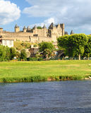 Fortress Carcassonne (France,. View of fortress Carcassonne (France, Languedoc), river Aude and Old bridge Stock Images