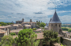 Fortress of Carcassonne, France. Old Town and fortifications. UNESCO List. Fortress of Carcassonne - a medieval architectural complex, located in the French town Royalty Free Stock Photos