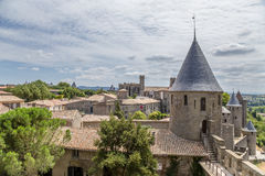 Fortress of Carcassonne, France. UNESCO List. Chateau Comtal is located within the fortress of Carcassonne, which was founded by the Romans before the new era Stock Photos