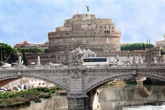 Fortress of Castel Santangelo in Rome Stock Photos