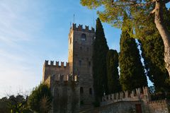 Fortress Castello and trees, Conegliano Veneto, Treviso Royalty Free Stock Images