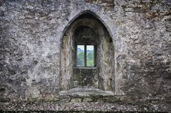 Fortress castle stone wall window stock image