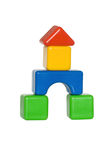 Fortress of children's blocks. Fortress of the children in the white cubes Stock Photo