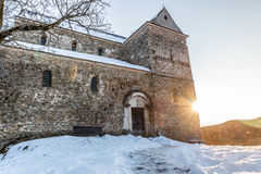 Fortress church. Fortified church, one of the oldest Roman basilica and it is located on the top of Saint Michael's Hill in Cisnadioara, Transylvania royalty free stock photos