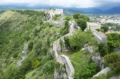 The fortress, city Knin, Croatia. The fortress, city Knin, aged historical medieval castle in Croatia, Europe, stone walls, amazing architecture Stock Photo
