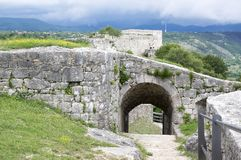 The fortress, city Knin, Croatia. The fortress, city Knin, aged historical medieval castle in Croatia, Europe, stone walls, amazing architecture, gate Stock Photos