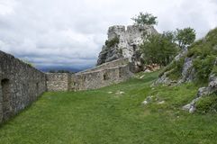 The fortress, city Knin, Croatia. The fortress, city Knin, aged historical medieval castle in Croatia, Europe, stone walls Royalty Free Stock Photography