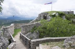 The fortress, city Knin, Croatia. The fortress, city Knin, aged historical medieval castle in Croatia, Europe, stone walls Stock Image