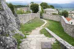 The fortress, city Knin, Croatia. The fortress, city Knin, aged historical medieval castle in Croatia, Europe, stone walls, amazing architecture Royalty Free Stock Image
