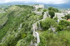 The fortress, city Knin, Croatia. The fortress, city Knin, aged historical medieval castle in Croatia, Europe, stone walls Stock Photos