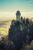 Fortress on a cliff in San Marino Stock Images