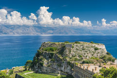 The fortress in Corfu city, Greece Royalty Free Stock Images