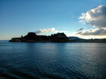 Fortress of corfu island Greece. The castle in the entrance of the town Royalty Free Stock Photography