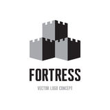Fortress - creative logo sign concept. Castle tower abstract illustration. Vector logo template Stock Photos
