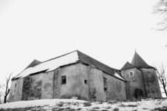 Fortress Cuknstein, art foto, winter. Nove Hrady, South Bohemia royalty free stock image