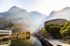 Fortress at dawn Kotor royalty free stock photo