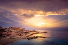 Fortress defending the beach at the top of the hill. In Almeria stock image