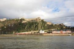 Fortress Ehrenbreitstein as seen from Koblenz Stock Photo