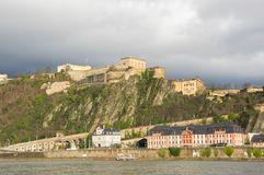 Fortress Ehrenbreitstein as seen from Koblenz. A city situated on both banks of the Rhine at its confluence with the Moselle, Germany Stock Photos