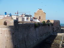 Fortress in El Jadida in Morocco. Fortress of MAZAGAN city landscape with arabic ancient fortification citadel walls located in MOROCCO in AFRICA with clear blue Stock Photography