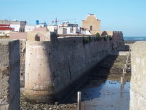 Fortress in El Jadida in Morocco. Fortress of MAZAGAN city landscape with arabic ancient fortification citadel walls located in MOROCCO in AFRICA with clear blue Royalty Free Stock Photos