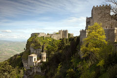 Fortress of Erice. Panoramic view of three ancient fortresses of Erice town, Sicily, Italy Royalty Free Stock Image