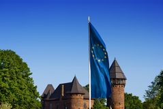 Fortress EU. A medieval castle with the EU flag. Burg Linn in Germany Royalty Free Stock Image