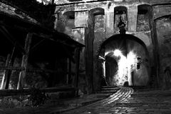 Fortress gate. Large entrance in ancient fortress of Sighisoara Stock Photos