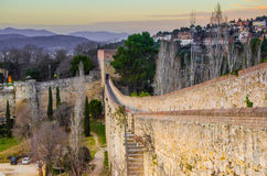 Fortress in Girona. Sunset from the medieval fortress in Girona Stock Photography