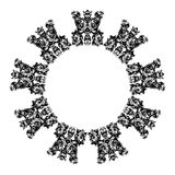 Fortress Glyph. B&w mystical fortification ring symbol Stock Images