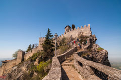 Fortress of Guaita on a sunny day in San Marino Royalty Free Stock Photography