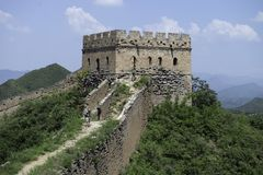 Fortress Guard Tower of Mutianyu, a section of the Great Wall of China during summer. Huairou District, Beijing, China.  stock photo