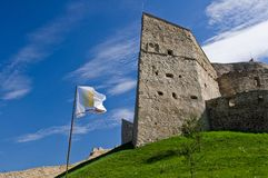 Fortress on a hill. Rupea fortress (Brasov County, Transylvania, Romania). Mentioned in documents for the first time in 1324 AD Royalty Free Stock Photos