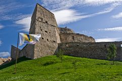 Fortress on a hill. Rupea fortress (Brasov County, Transylvania, Romania). Mentioned in documents for the first time in 1324 AD Stock Images