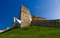 Fortress on a hill. Rupea fortress (Brasov County, Transylvania, Romania). Mentioned in documents for the first time in 1324 AD Stock Photo