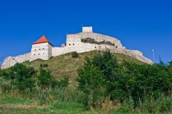 Fortress on a hill. Rupea fortress (Brasov County, Transylvania, Romania). Mentioned in documents for the first time in 1324 AD Royalty Free Stock Images