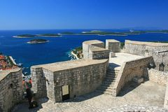 Fortress in Hvar, Croatia. Aerial view of marina on island Hvar from the fortress walls Stock Image